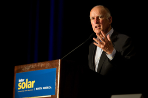 The Intersolar brand represents the most renowned, international events supporting the solar industry. Politicians and influential entrepreneurs flock to Intersolar from all over the world. Picture: Jerry Brown, Governor of California.
