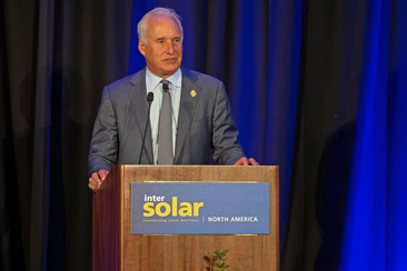 Richard L. Kauffman gives a speech at the Opening Ceremony at Intersolar and ees North America