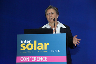 Dr. Jutta Trube (Director Photovoltaik Equipment, German Engineering Federation, VDMA) at Intersolar India's Study Program 2016