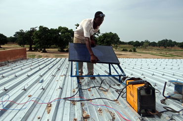 Installation of the off-grid photovoltaic system.